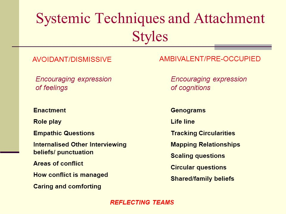 Systemic Techniques and Attachment Styles