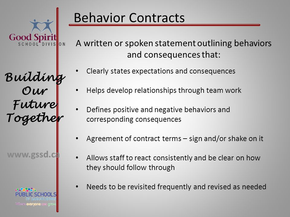Behavior Contracts A written or spoken statement outlining behaviors and consequences that: Clearly states expectations and consequences.