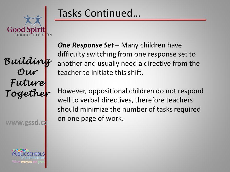 Tasks Continued…