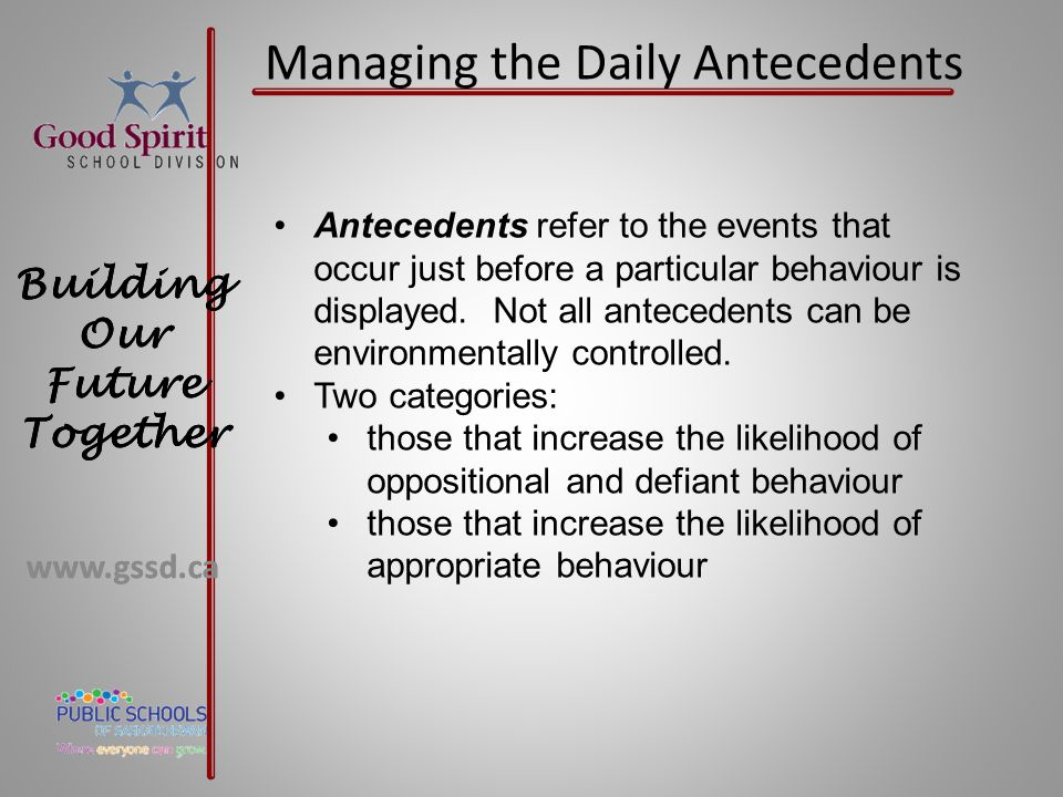 Managing the Daily Antecedents