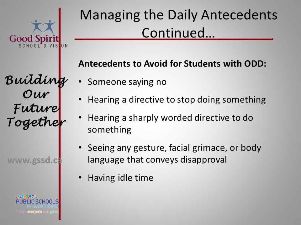 Managing the Daily Antecedents Continued…