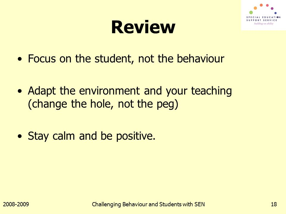 Challenging Behaviour Presentation for Primary Teachers