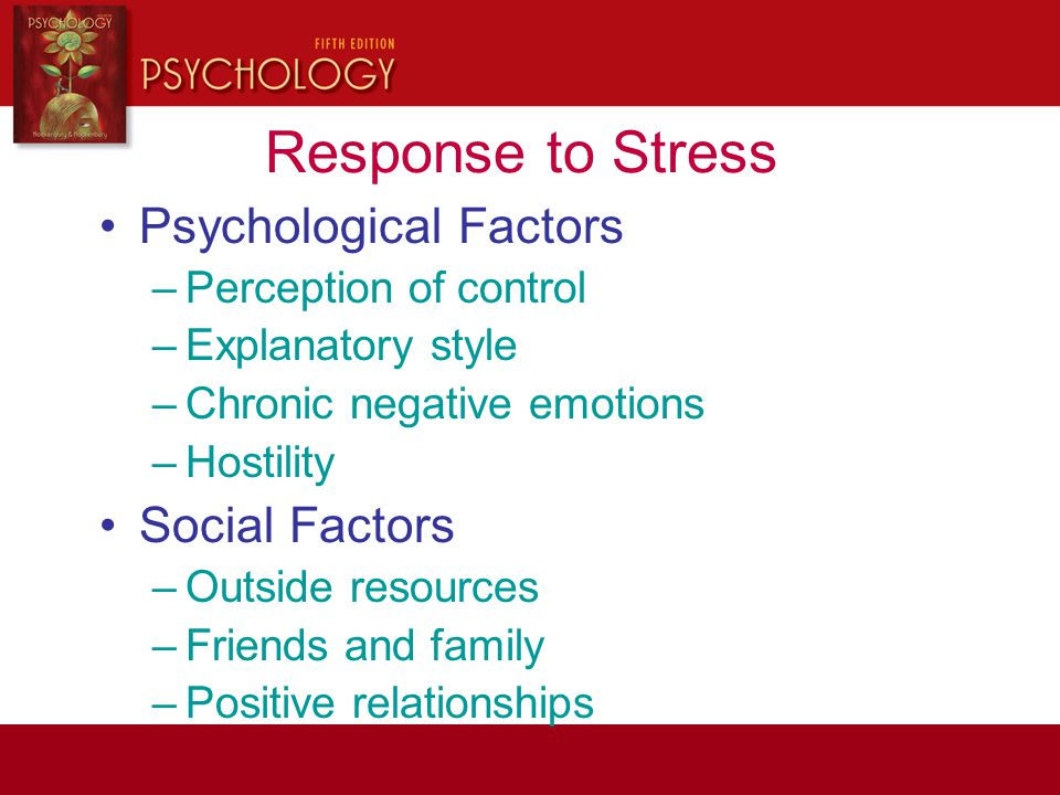 Response to Stress Psychological Factors Social Factors