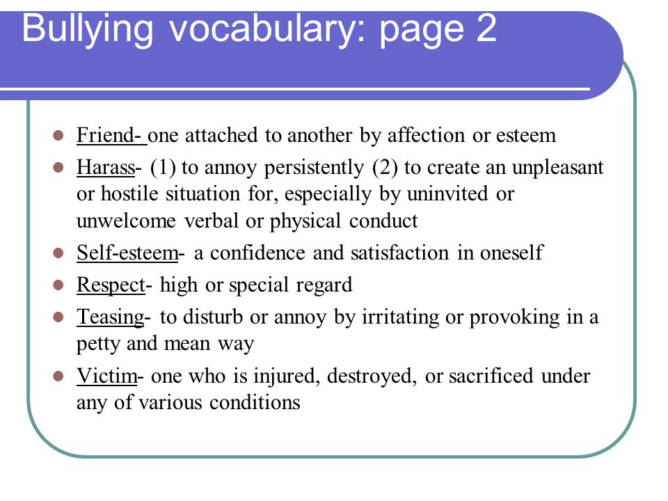 Bullying vocabulary: page 2