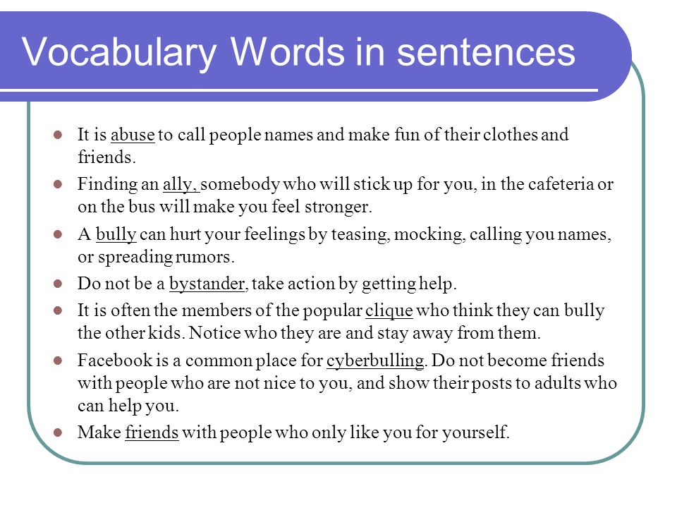 Vocabulary Words in sentences