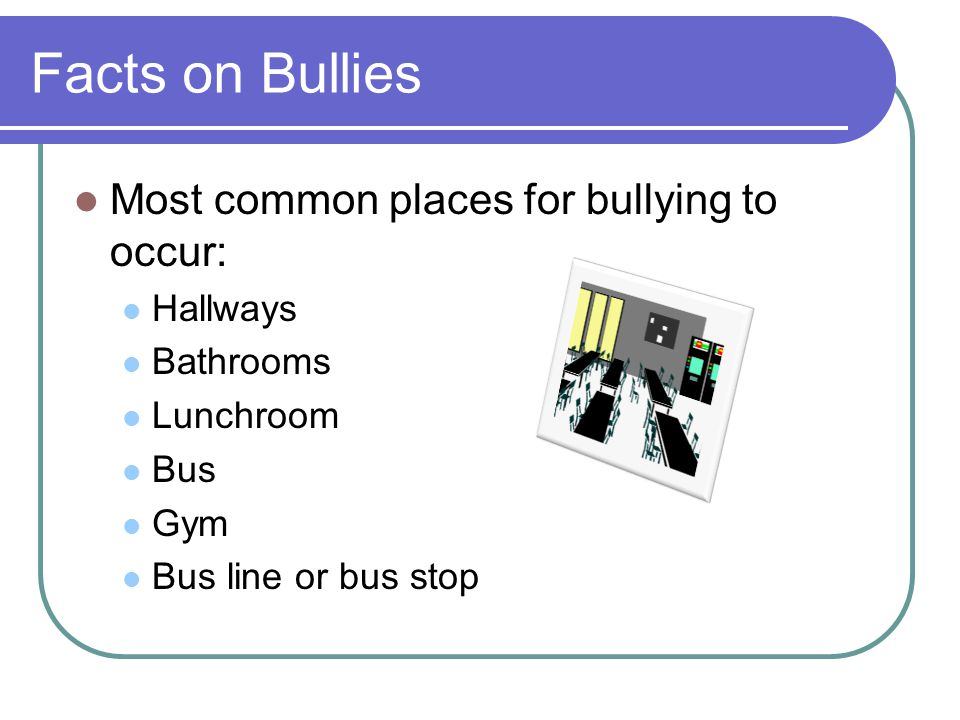 Facts on Bullies Most common places for bullying to occur: Hallways