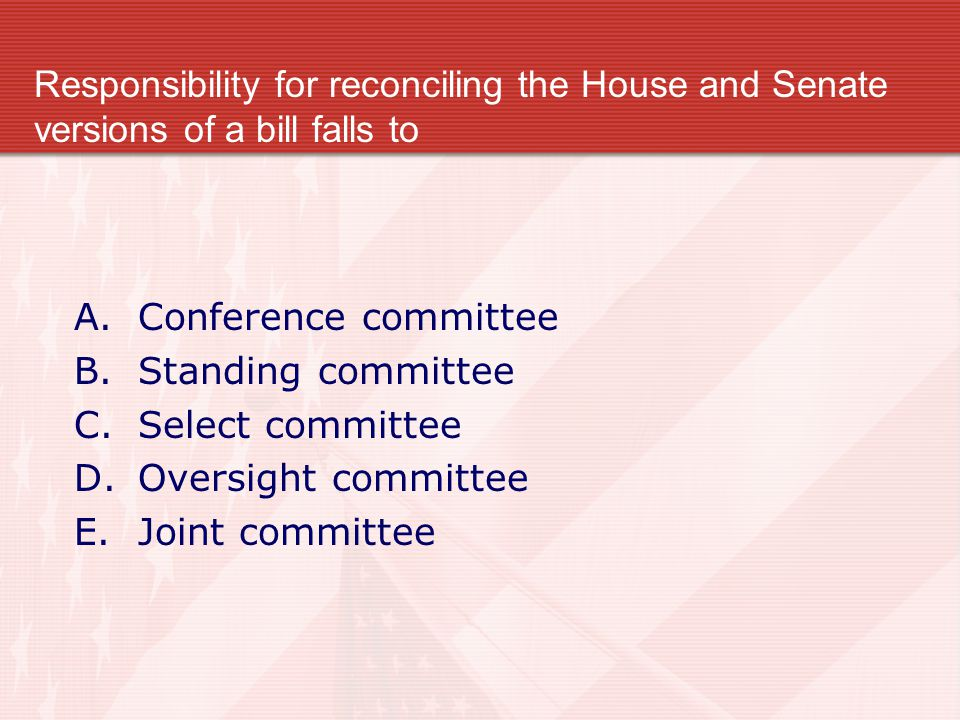 Responsibility for reconciling the House and Senate versions of a bill falls to