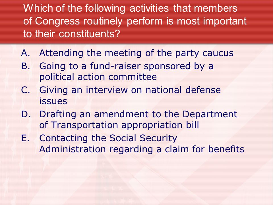 Which of the following activities that members of Congress routinely perform is most important to their constituents