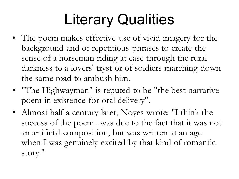 Literary Qualities
