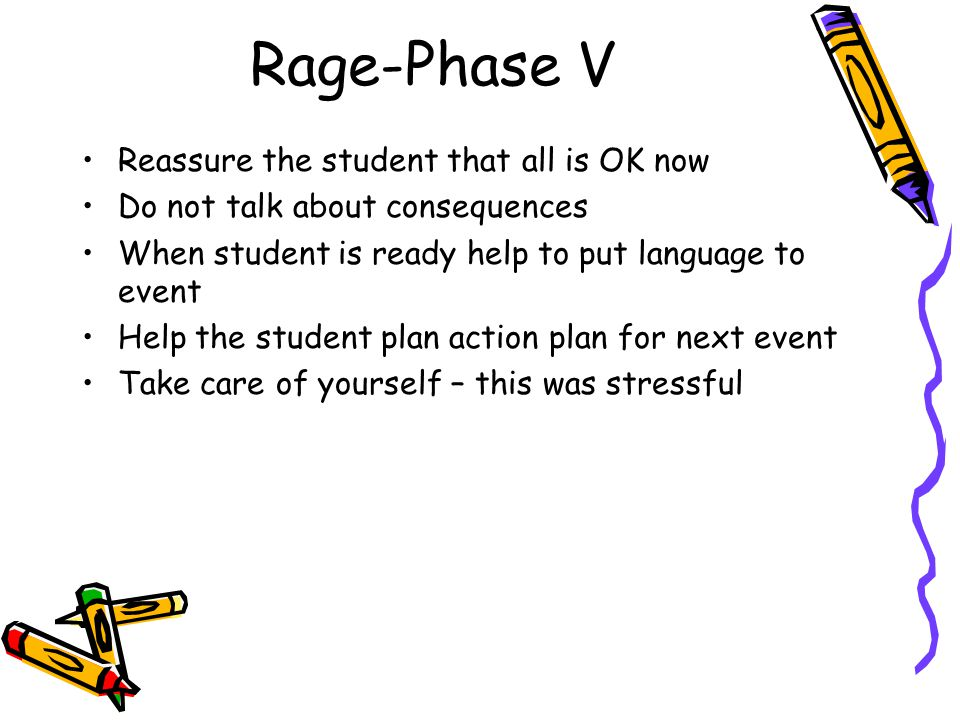Rage-Phase V Reassure the student that all is OK now