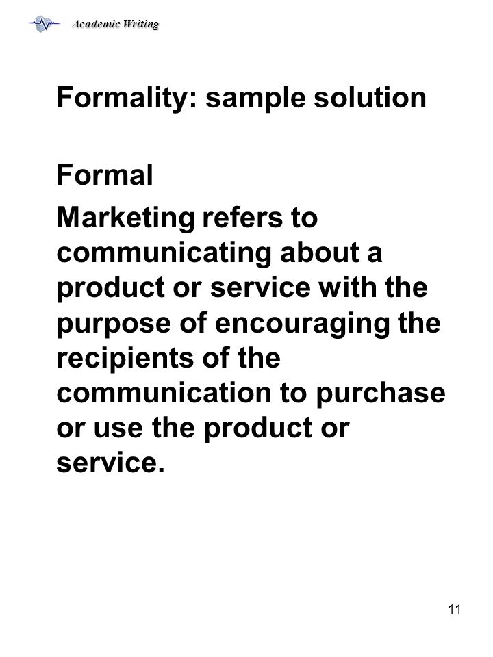 Formality: sample solution
