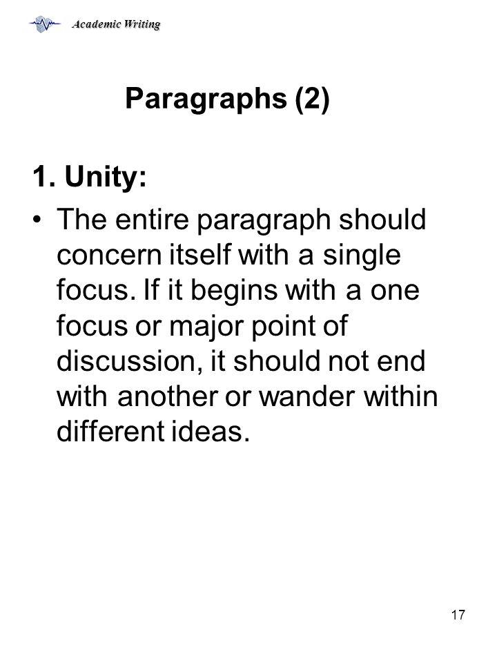 Paragraphs (2) 1. Unity: