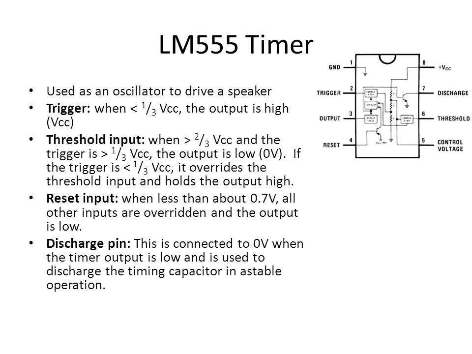 LM555 Timer Used as an oscillator to drive a speaker
