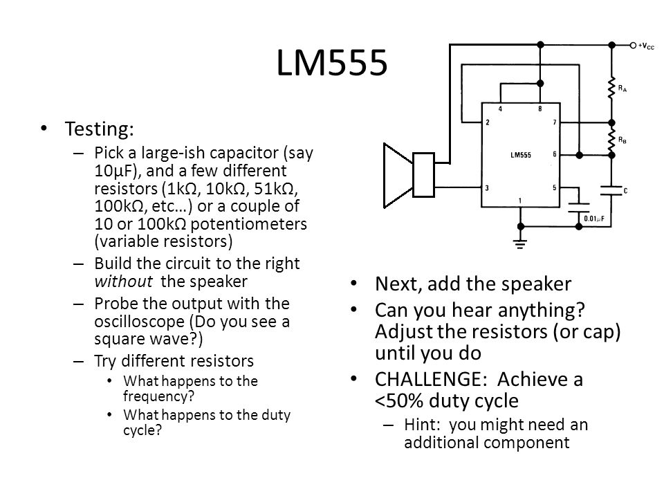 LM555 Testing: Next, add the speaker