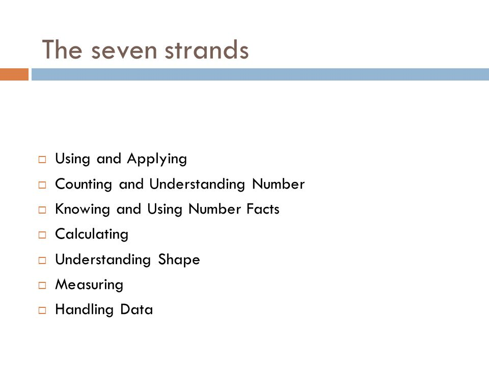 The seven strands Using and Applying Counting and Understanding Number