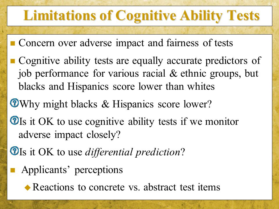 Limitations of Cognitive Ability Tests