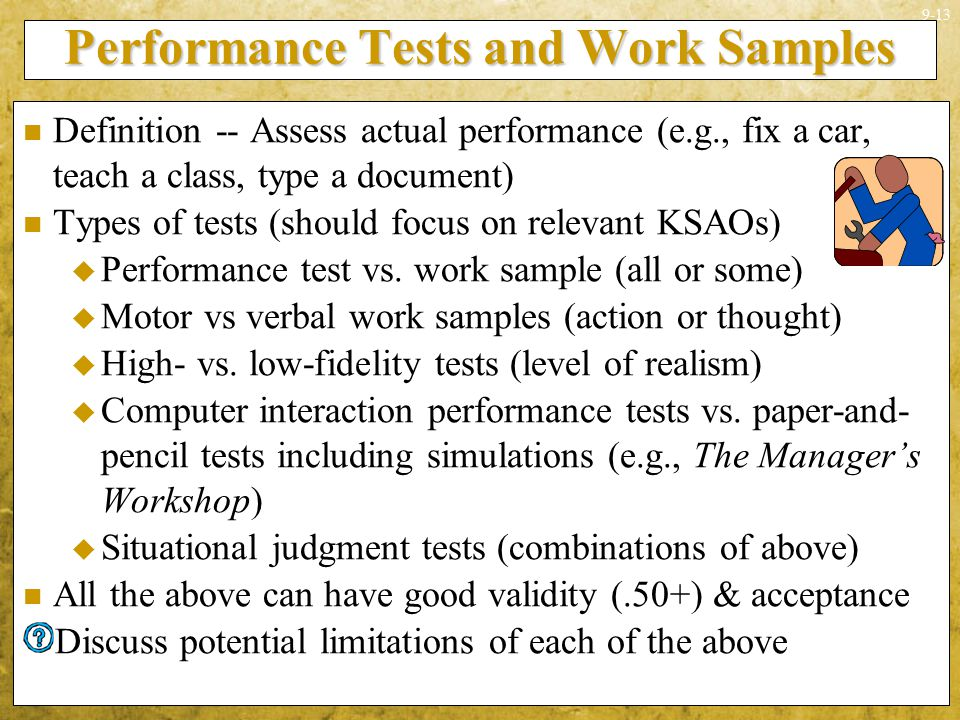 Performance Tests and Work Samples