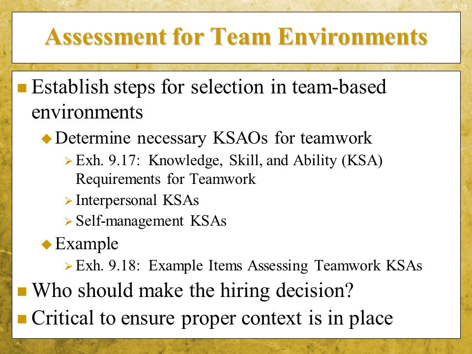 Assessment for Team Environments