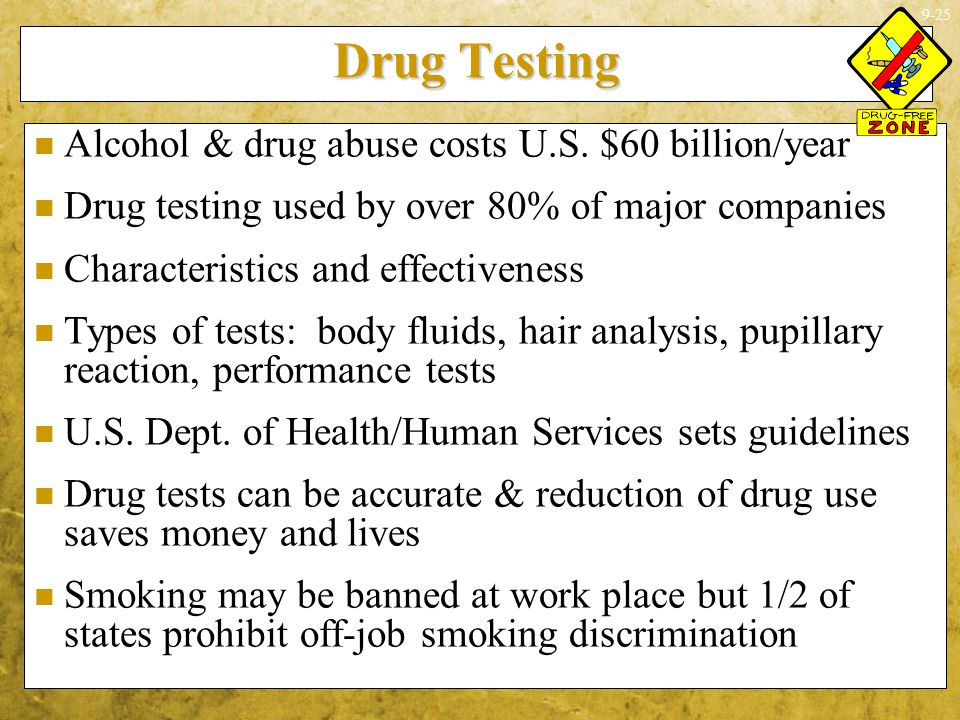 Drug Testing Alcohol & drug abuse costs U.S. $60 billion/year