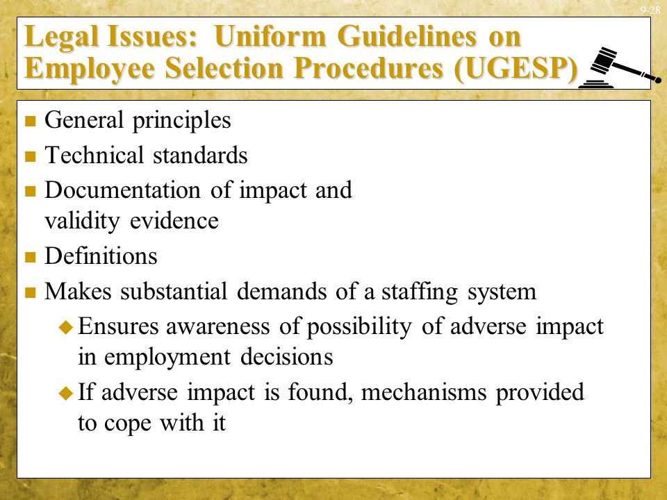 Legal Issues: Uniform Guidelines on Employee Selection Procedures (UGESP)