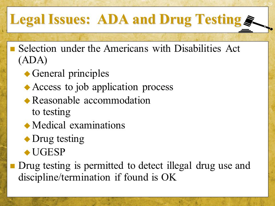 Legal Issues: ADA and Drug Testing