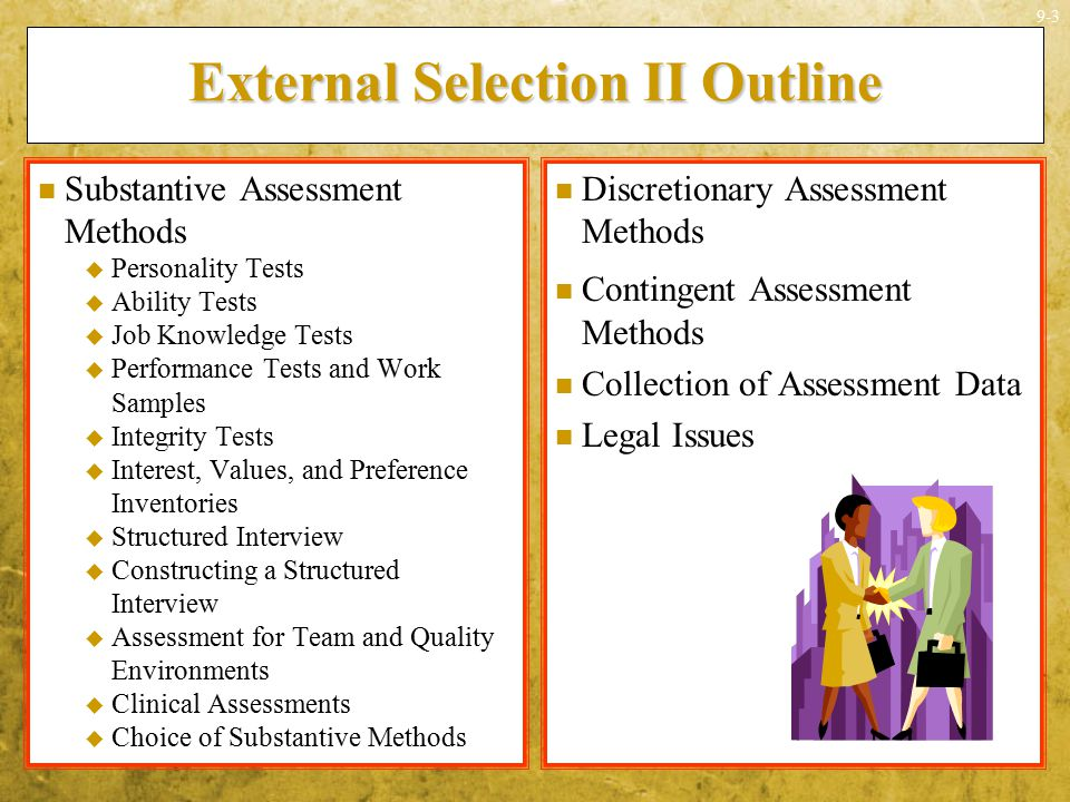 External Selection II Outline