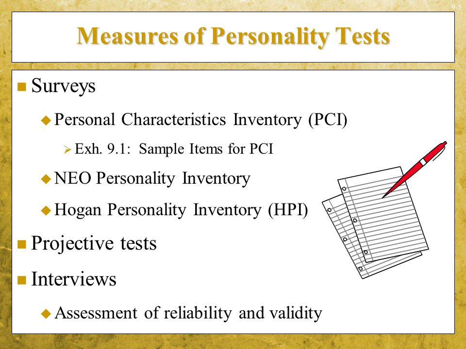 Measures of Personality Tests
