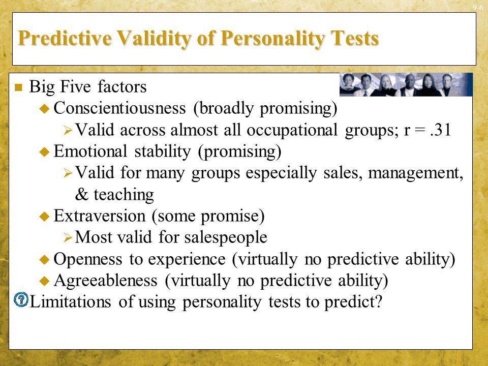 Predictive Validity of Personality Tests
