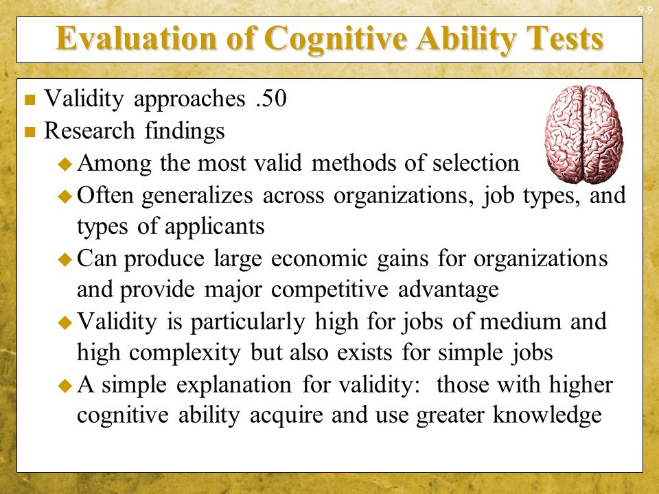 Evaluation of Cognitive Ability Tests