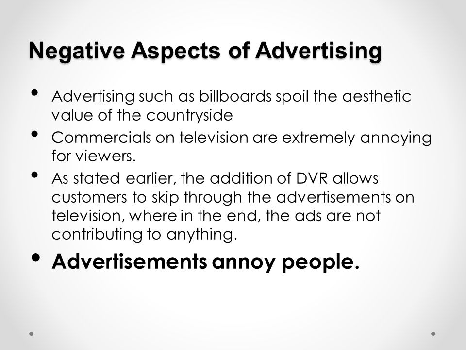 Negative Aspects of Advertising