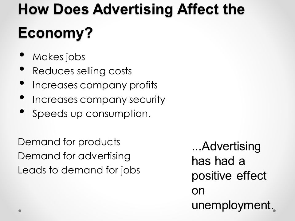 How Does Advertising Affect the Economy