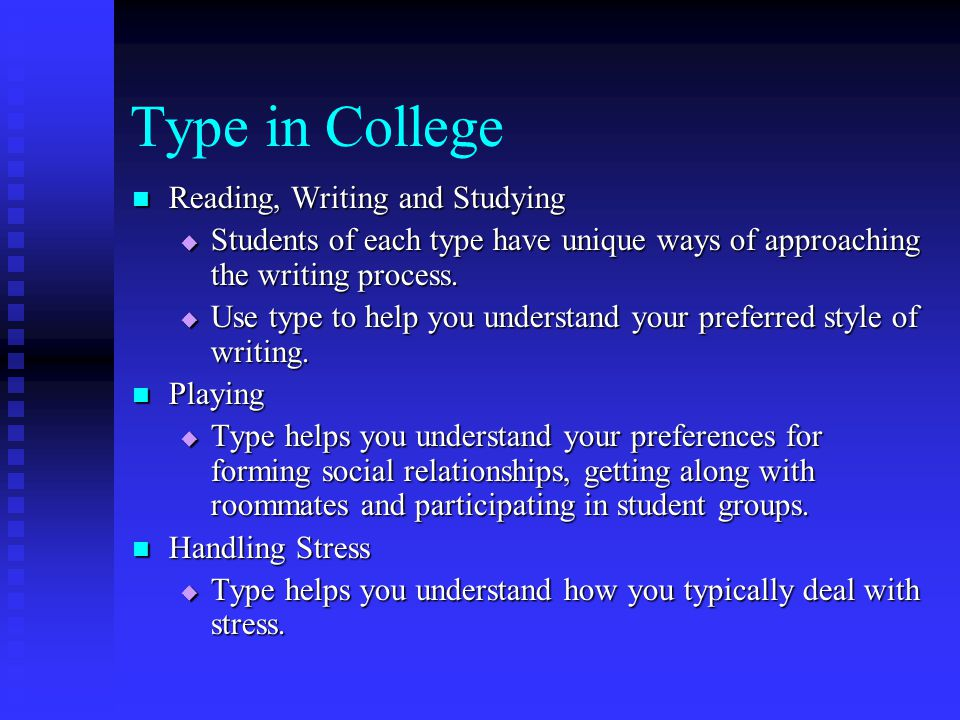 Type in College Reading, Writing and Studying