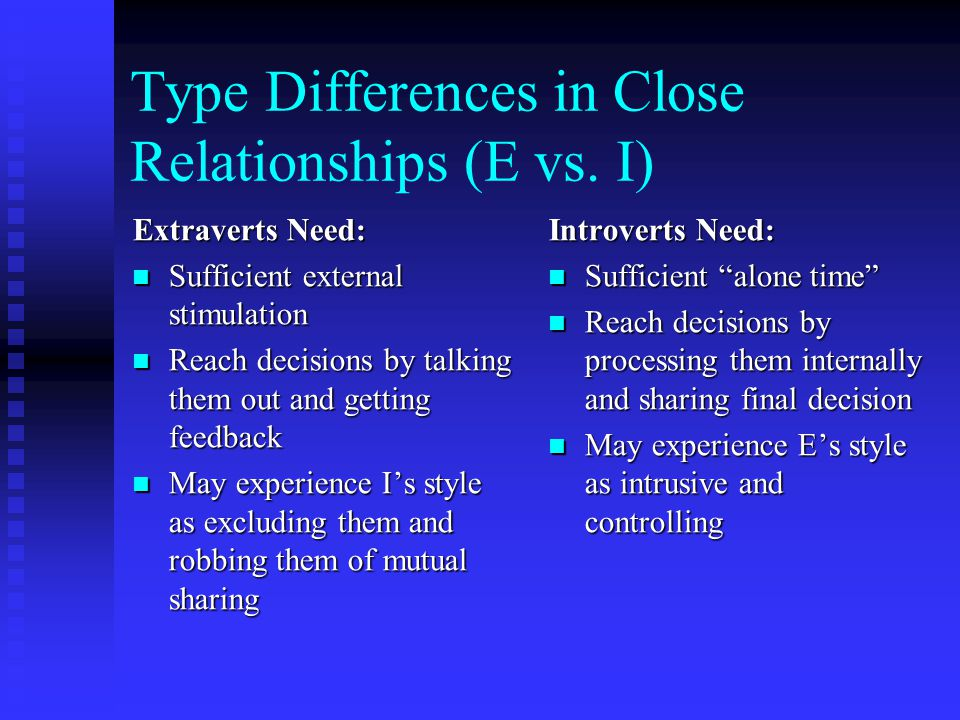 Type Differences in Close Relationships (E vs. I)