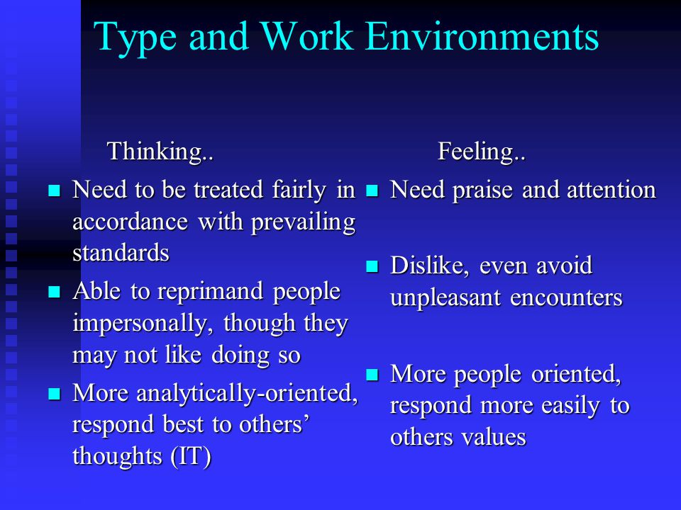 Type and Work Environments