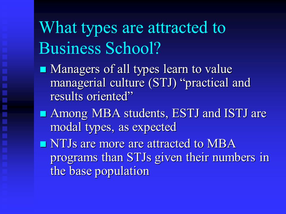 What types are attracted to Business School