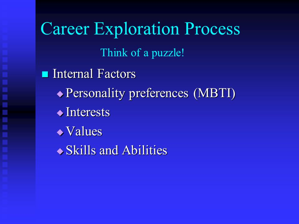 Career Exploration Process Think of a puzzle!