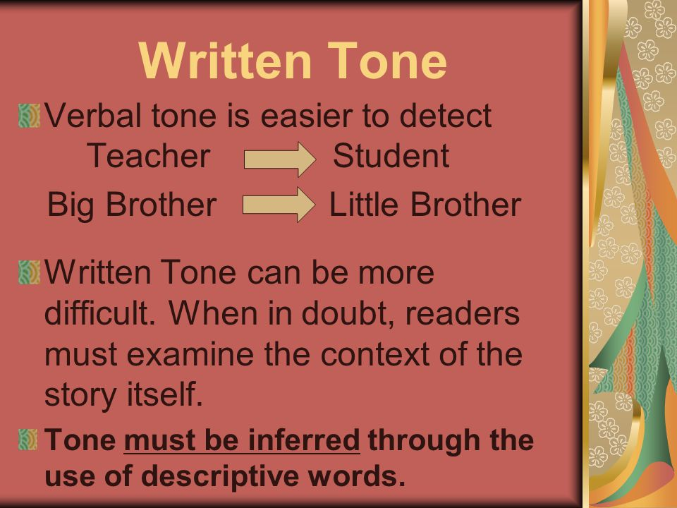 Written Tone Verbal tone is easier to detect Teacher Student