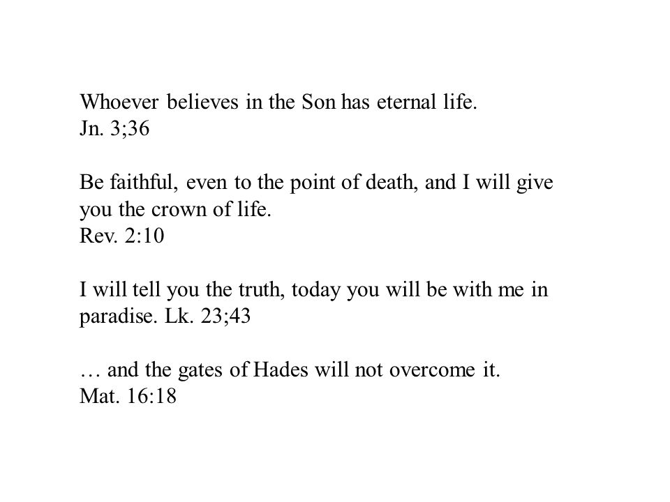 Whoever believes in the Son has eternal life.