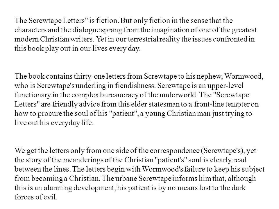 The Screwtape Letters is fiction