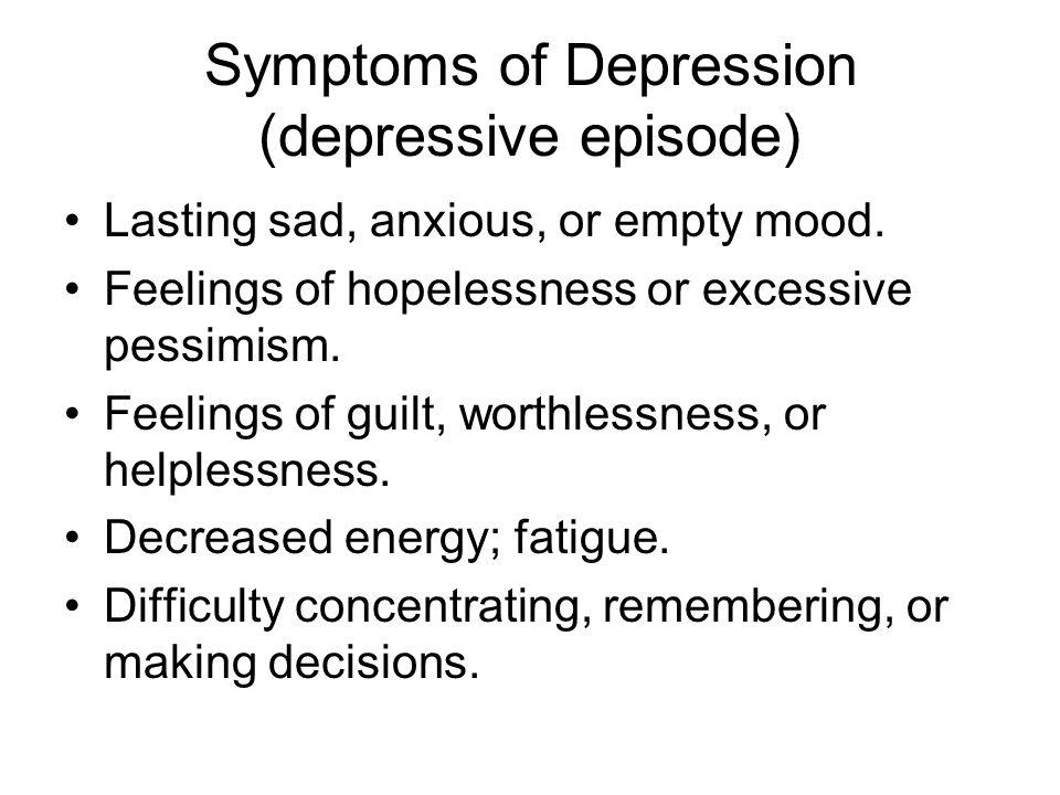 Symptoms of Depression (depressive episode)