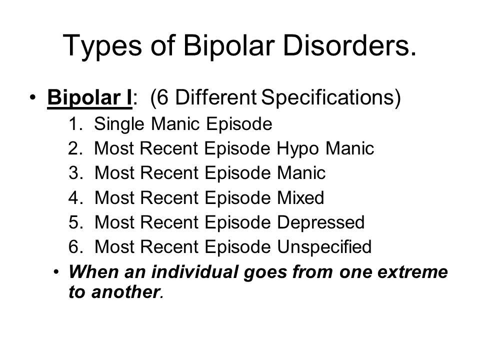 Types of Bipolar Disorders.