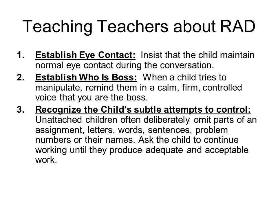 Teaching Teachers about RAD