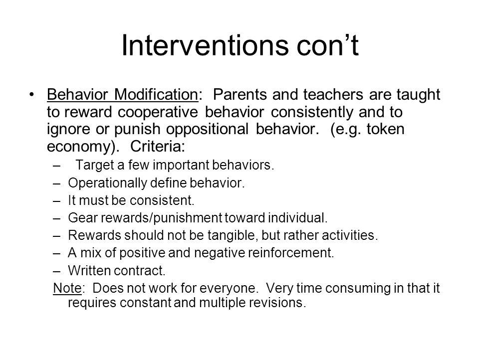 Interventions con't