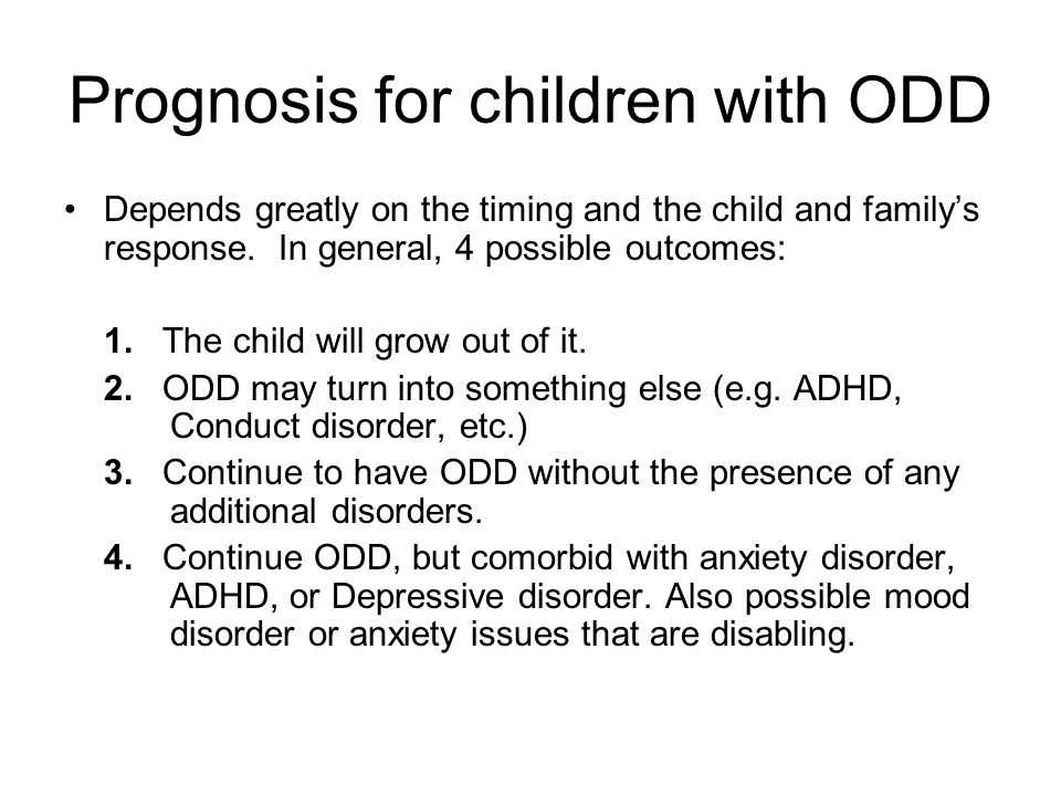 Prognosis for children with ODD