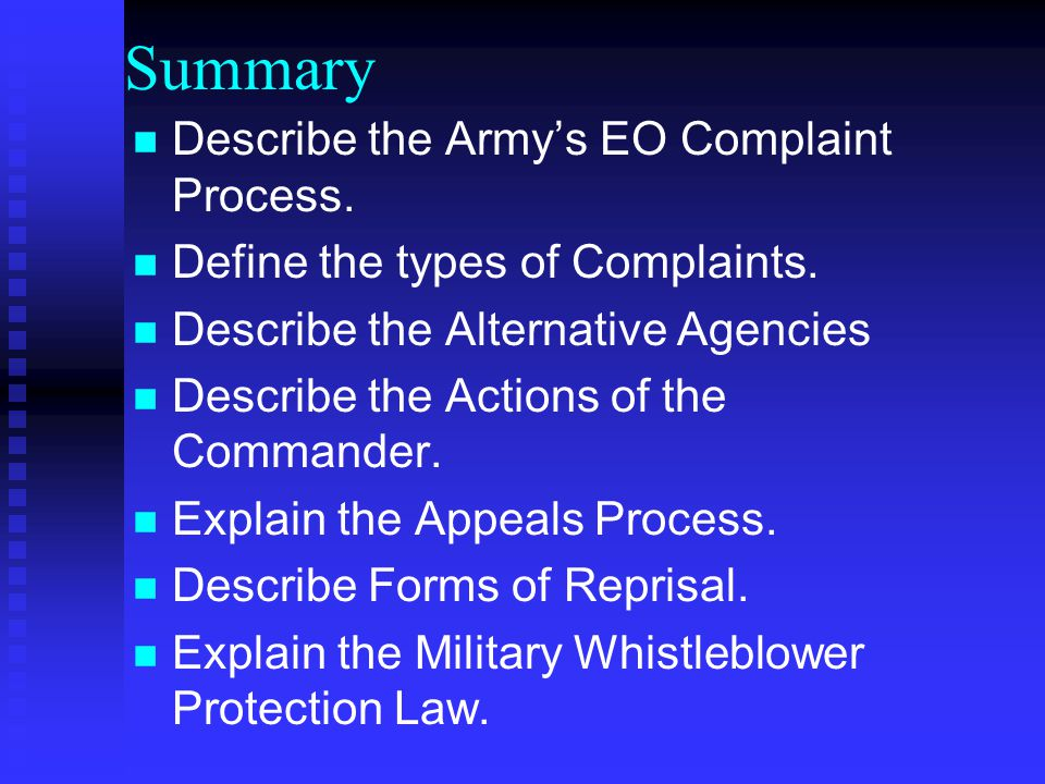 Summary Describe the Army's EO Complaint Process.
