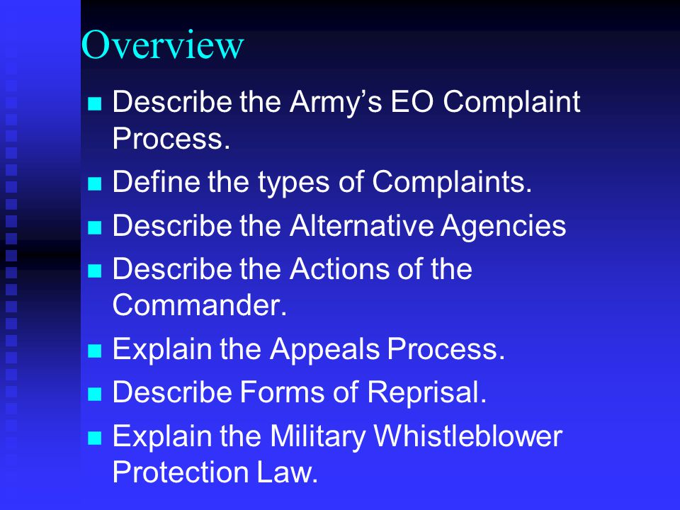 Overview Describe the Army's EO Complaint Process.