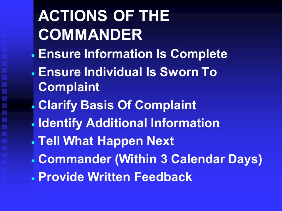 ACTIONS OF THE COMMANDER