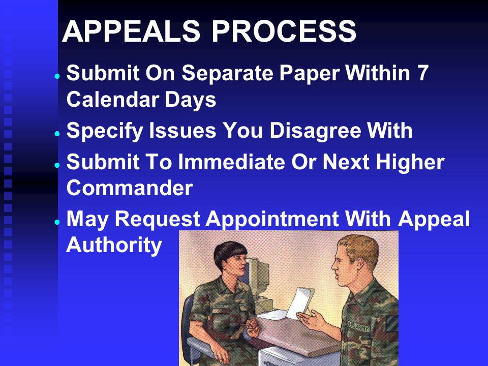APPEALS PROCESS Submit On Separate Paper Within 7 Calendar Days