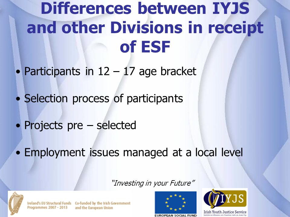 Differences between IYJS and other Divisions in receipt of ESF