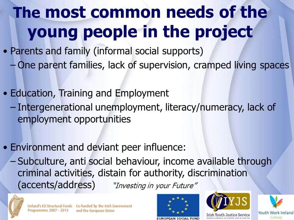 The most common needs of the young people in the project